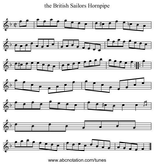 the British Sailors Hornpipe - staff notation
