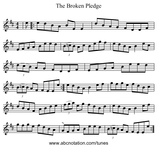 The Broken Pledge - staff notation