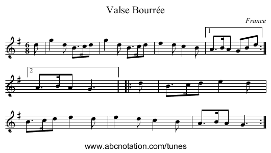 the Broosom Hornpipe, 2nd setting (re-tune aeae, play as written) - staff notation