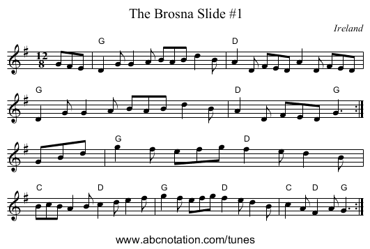 The Brosna Slide #1 - staff notation