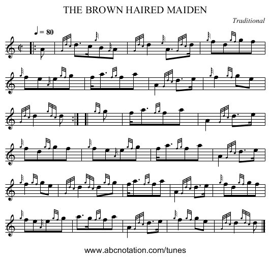 THE BROWN HAIRED MAIDEN - staff notation
