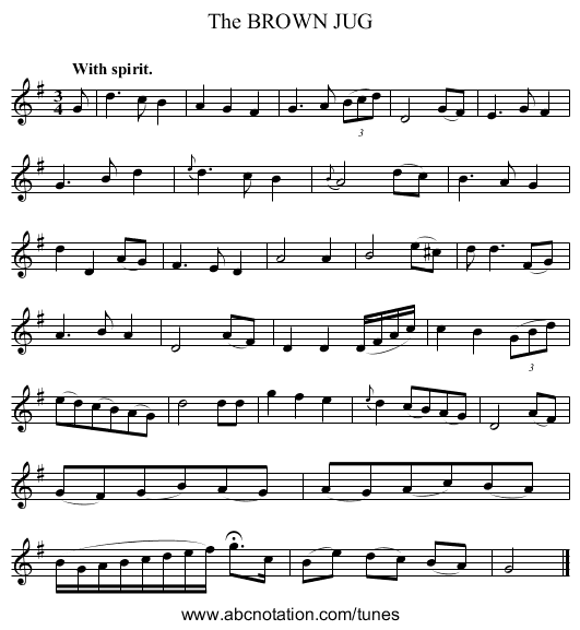 The BROWN JUG - staff notation