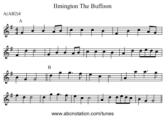 The Buffoon, Ilmington - staff notation