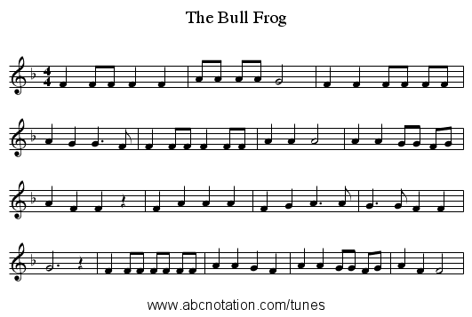 The Bull Frog - staff notation