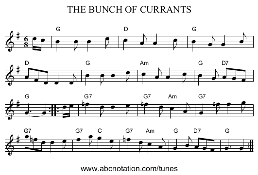 THE BUNCH OF CURRANTS - staff notation