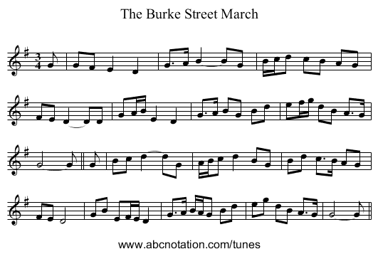 The Burke Street March - staff notation