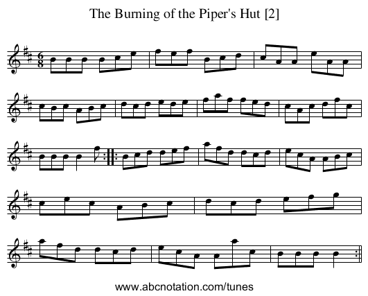 The Burning of the Piper's Hut [2] - staff notation