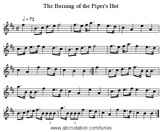 The Burning of the Piper's Hut - staff notation