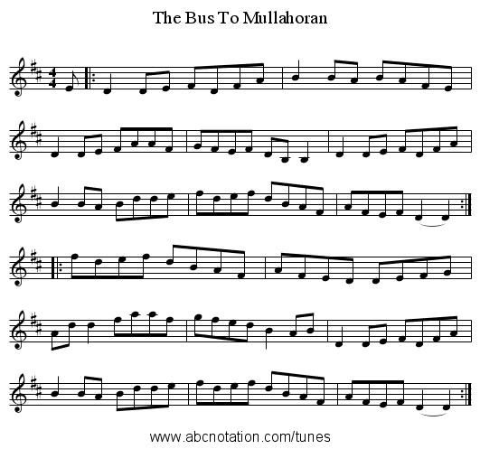 The Bus To Mullahoran - staff notation