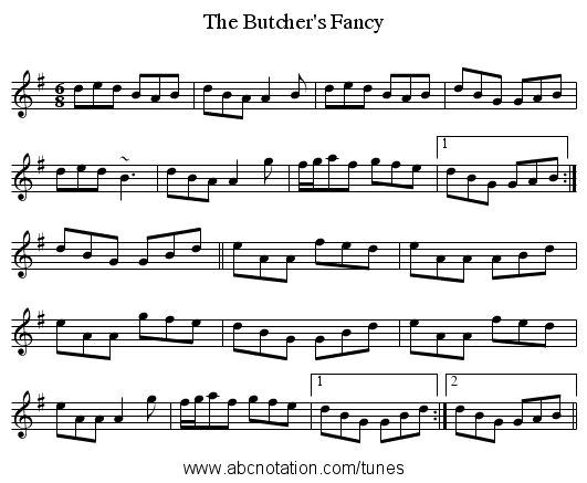 The Butcher's Fancy - staff notation