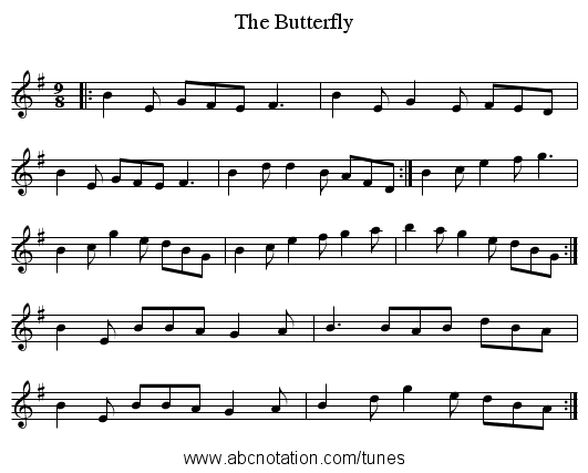 The Butterfly - staff notation