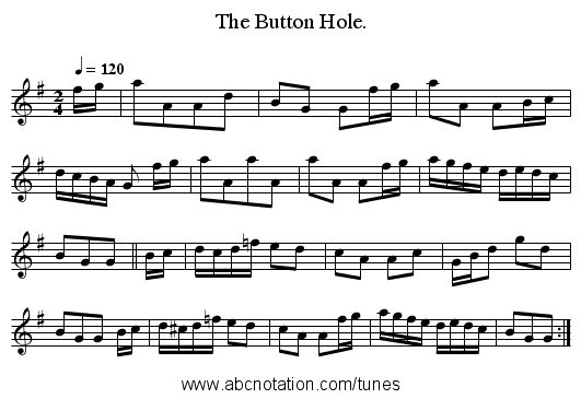 The Button Hole. - staff notation