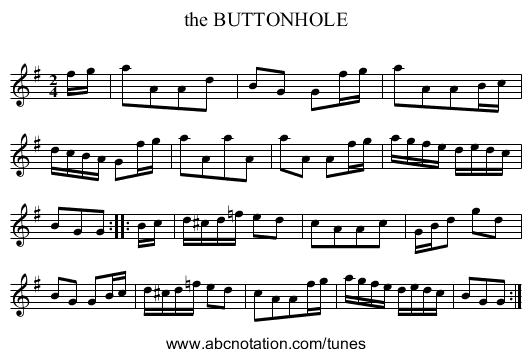 the BUTTONHOLE - staff notation