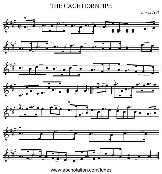 THE CAGE HORNPIPE - staff notation