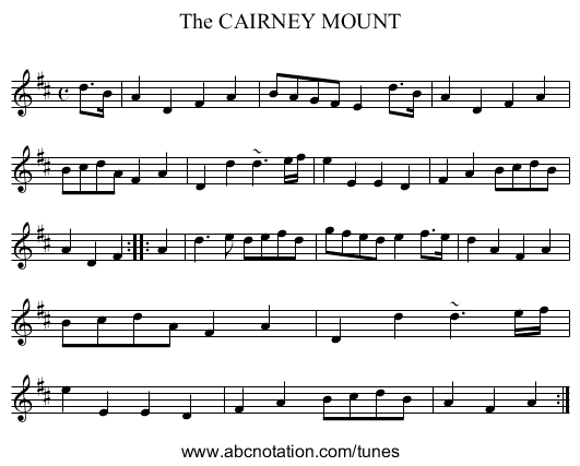 The CAIRNEY MOUNT - staff notation