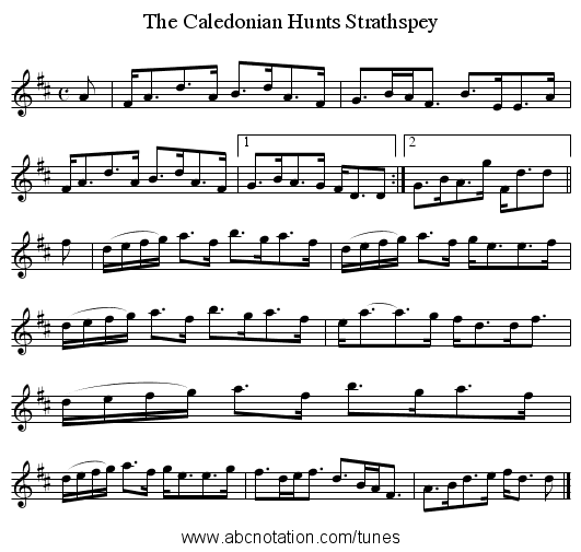 The Caledonian Hunts Strathspey - staff notation