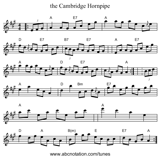the Cambridge Hornpipe - staff notation