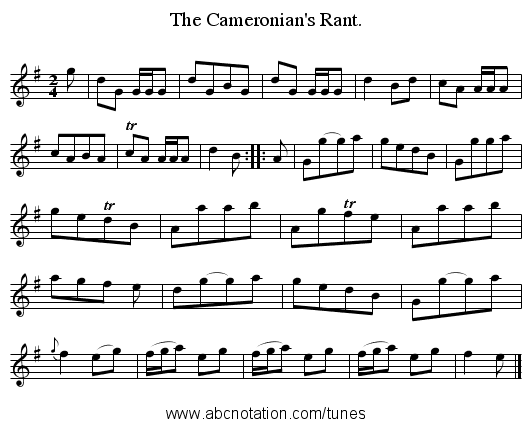 The Cameronian's Rant. - staff notation