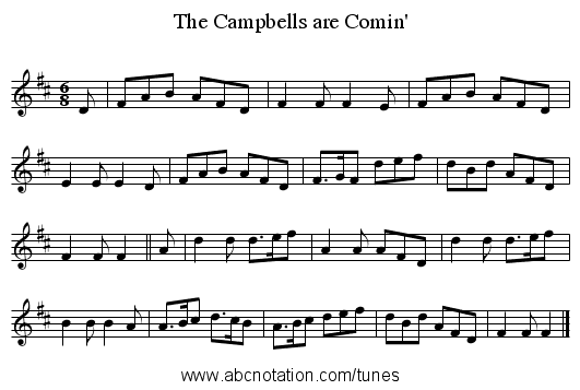 The Campbells are Comin' - staff notation
