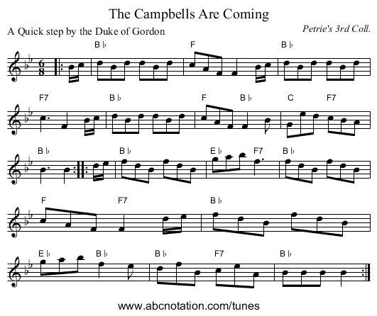 The Campbells Are Coming - staff notation
