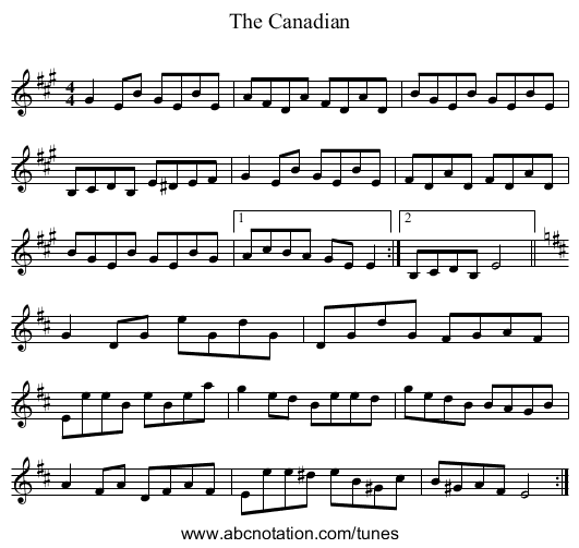 The Canadian - staff notation