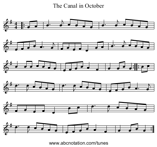 The Canal in October - staff notation