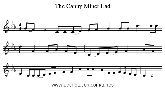 The Canny Miner Lad - staff notation