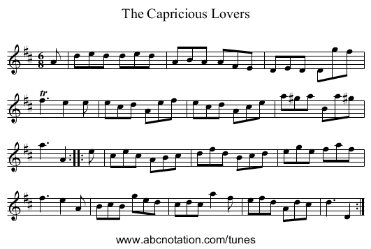 The Capricious Lovers - staff notation