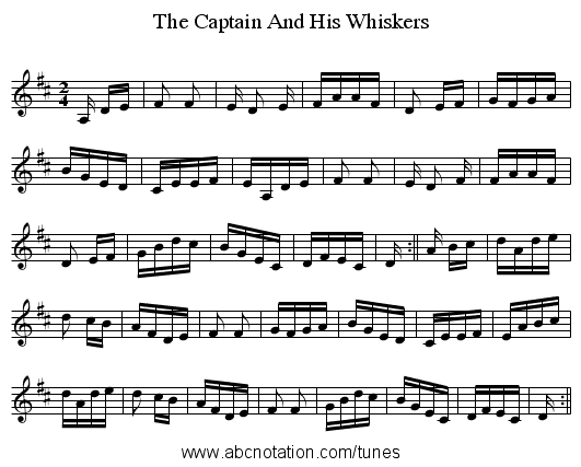 The Captain And His Whiskers - staff notation