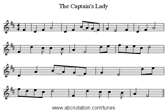 The Captain's Lady - staff notation