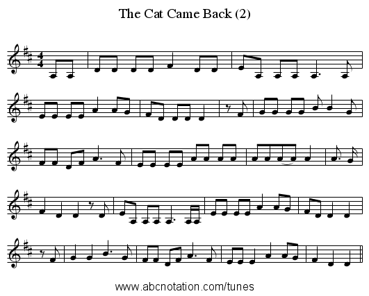 The Cat Came Back (2) - staff notation
