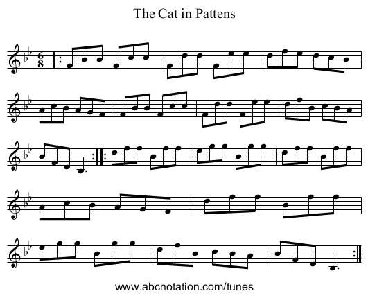 The Cat in Pattens - staff notation