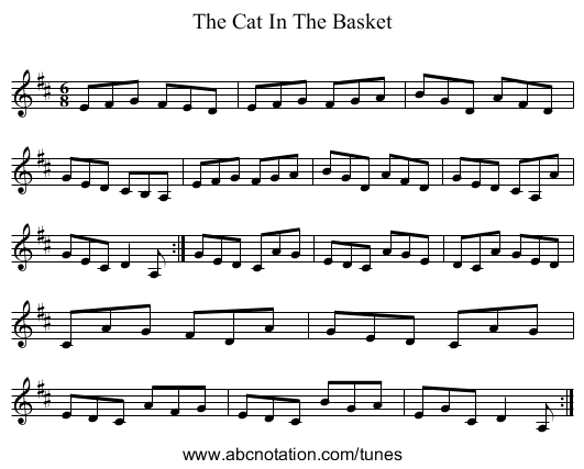 The Cat In The Basket - staff notation