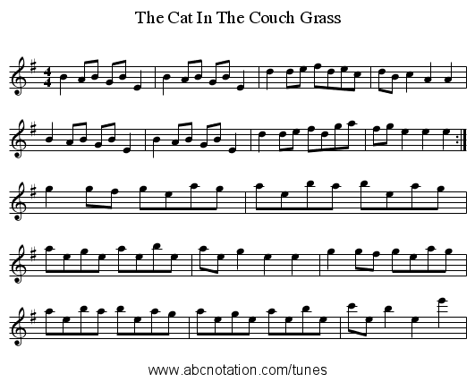 The Cat In The Couch Grass - staff notation
