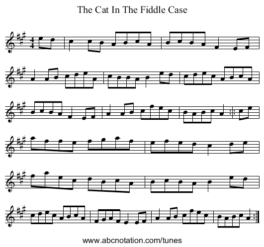 The Cat In The Fiddle Case - staff notation