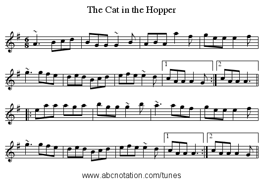 The Cat in the Hopper - staff notation