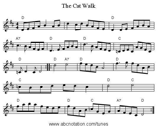 The Cat Walk - staff notation