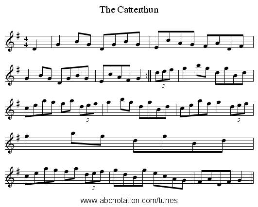 The Catterthun - staff notation
