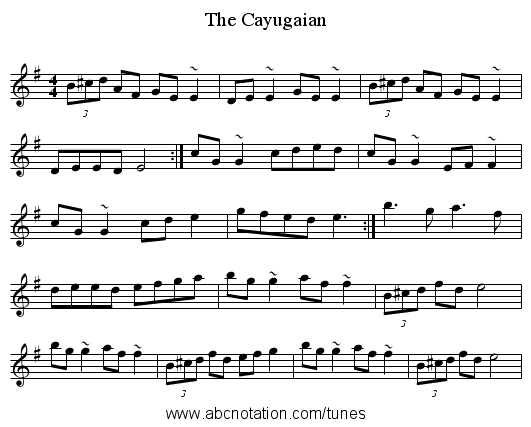 The Cayugaian - staff notation