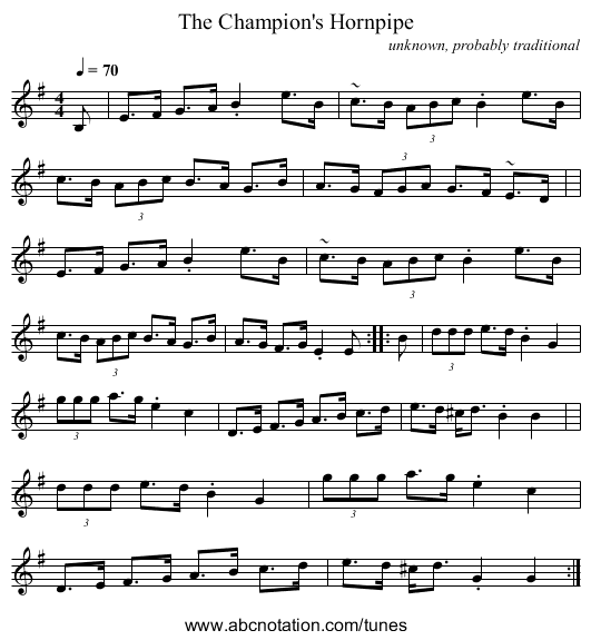 The Champion's Hornpipe - staff notation