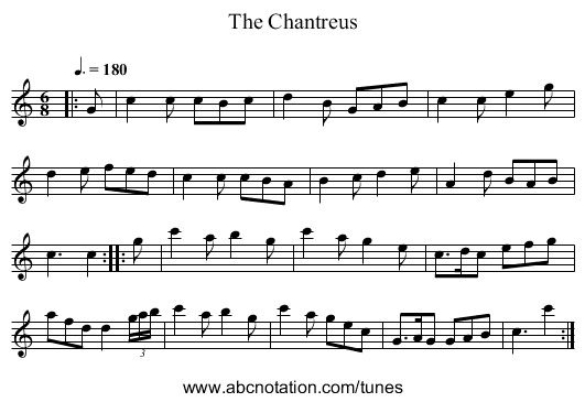 The Chantreus - staff notation