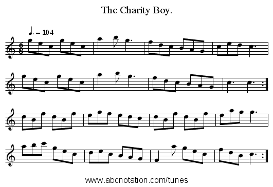 The Charity Boy. - staff notation