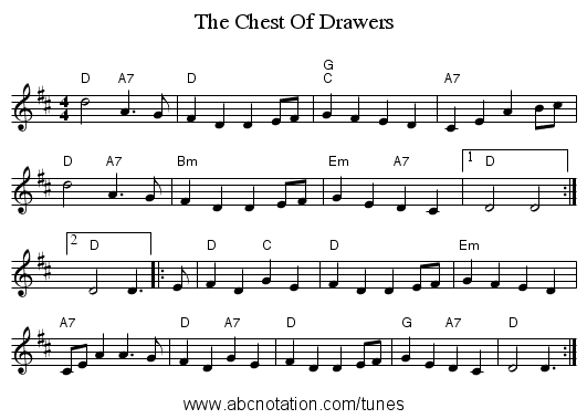 The Chest Of Drawers - staff notation