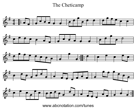 The Cheticamp - staff notation