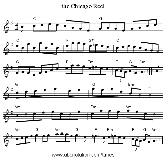 the Chicago Reel - staff notation