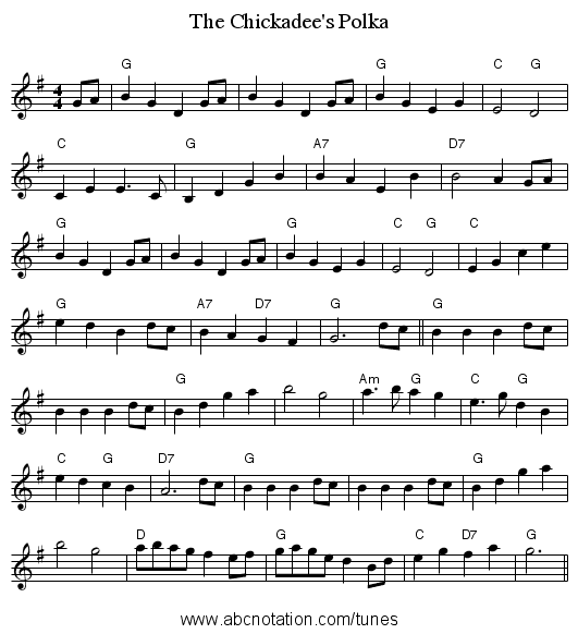 The Chickadee's Polka - staff notation