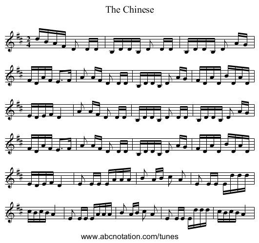 The Chinese - staff notation