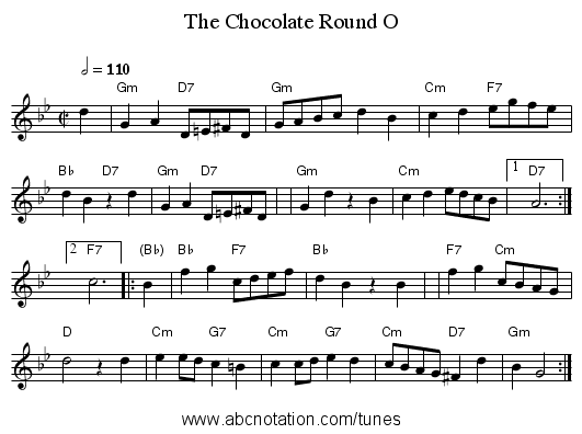 The Chocolate Round O - staff notation