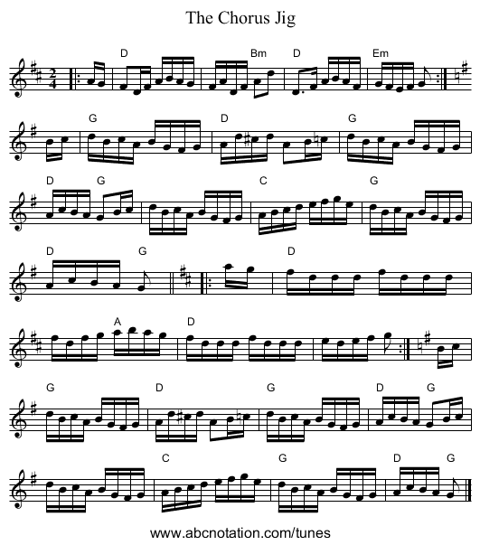The Chorus Jig - staff notation