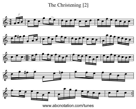 The Christening [2] - staff notation